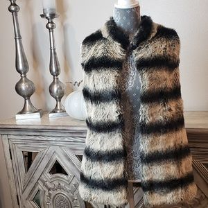 Small Rachel Zoe Black/ gray & brown Faux Fur Vest